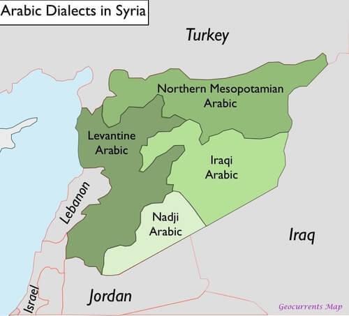 mapa de dialectos del arabe en siria