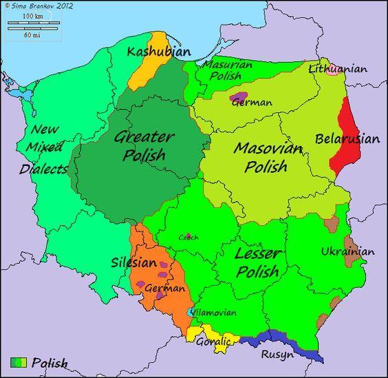 mapa de dialectos y lenguas de polonia