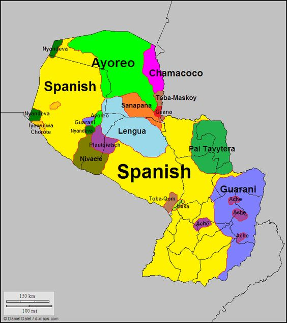 mapa de lenguas de paraguay