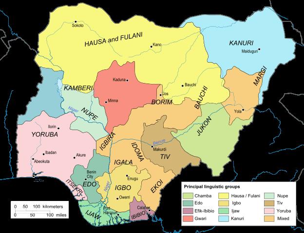 mapa de lenguas indigenas en nigeria