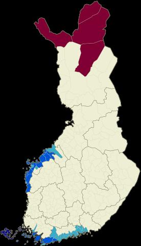 mapa de lenguas oficiales en finlandia por municipios