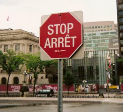 señal de trafico canada bilingue