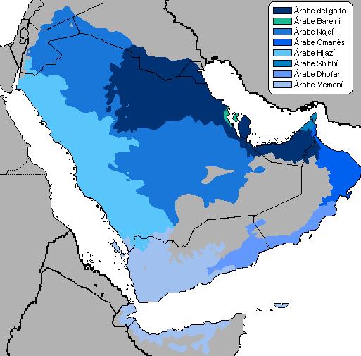 mapa de dialectos idioma arabe arabia saudita