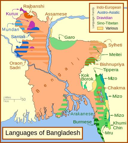 mapa de idiomas de bangladesh