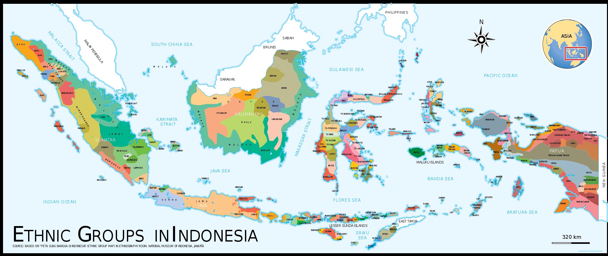 mapa de grupos etnicos idiomas de indonesia
