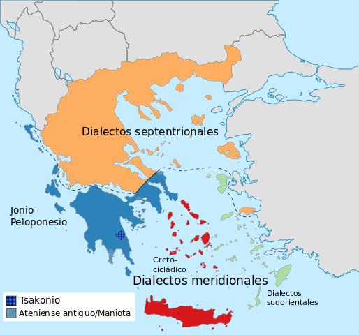 mapa dialectos griego en grecia