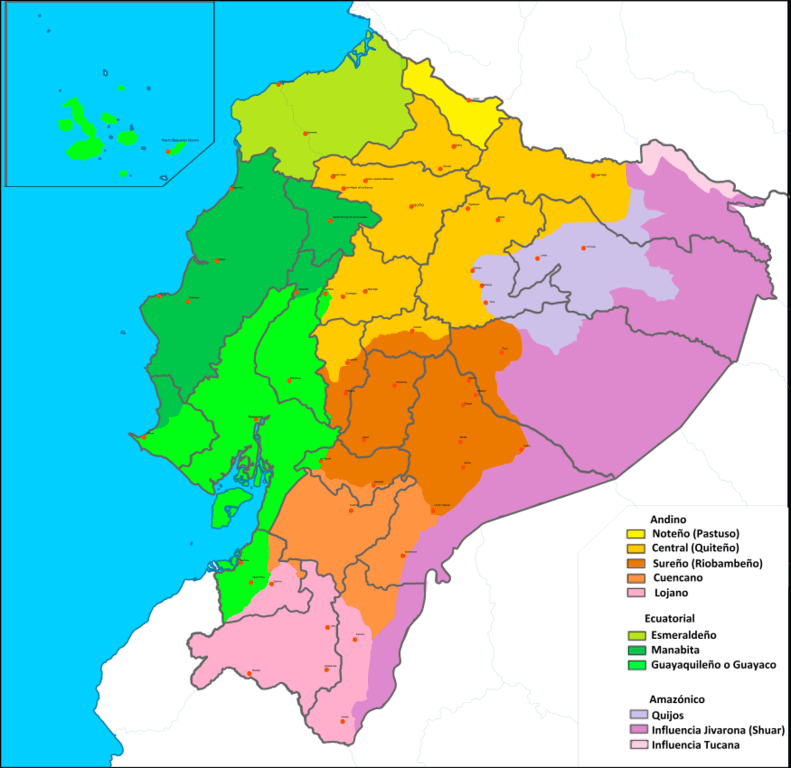 mapa de dialectos de español en ecuador