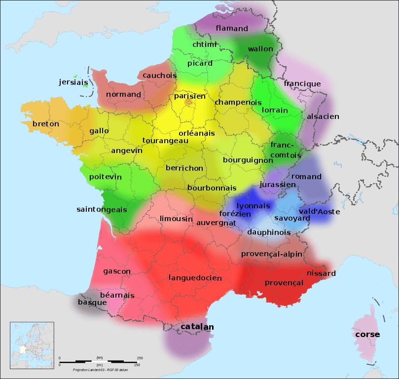 mapa de idiomas regionales y dialectos en francia