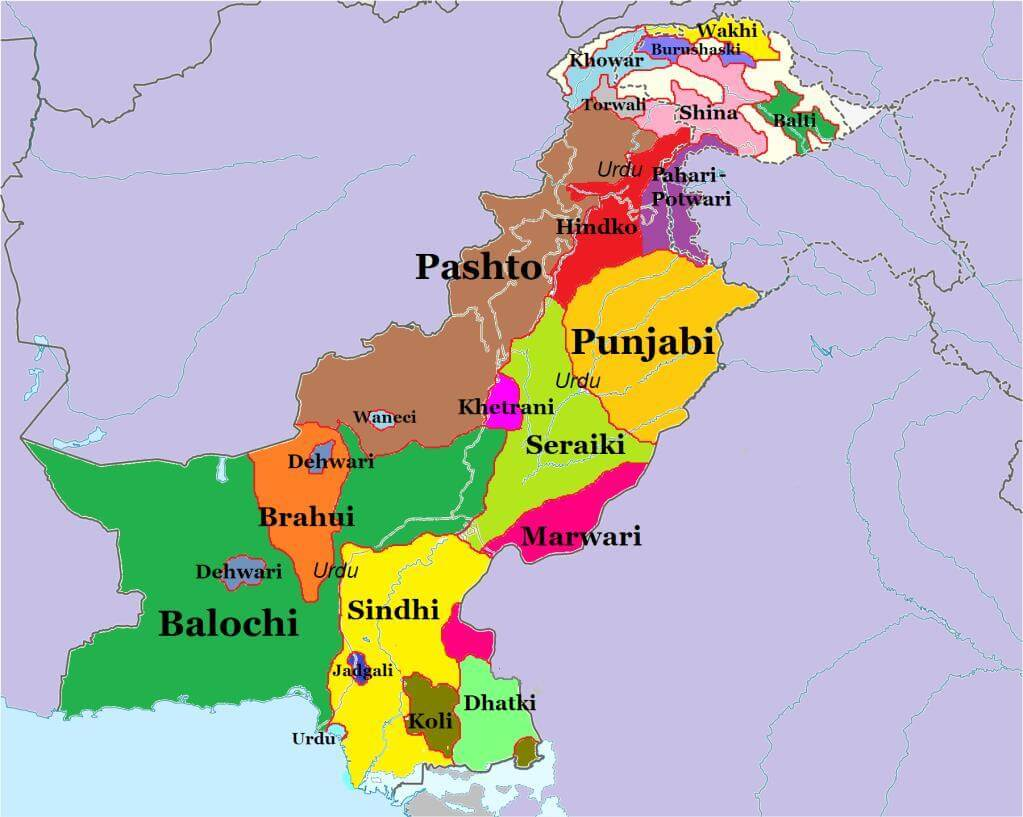 mapa de lenguas nativas en pakistan