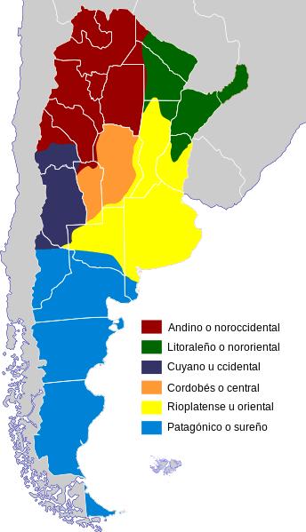 mapa de dialectos del español en argentina