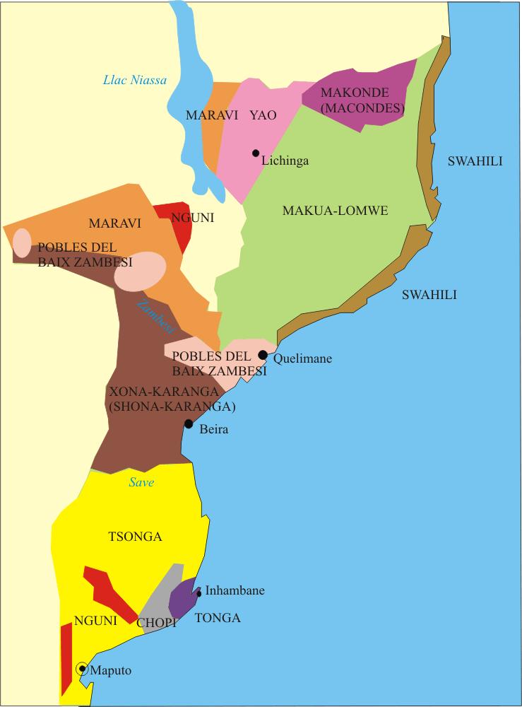 mapa de etnias y lenguas de mozambique