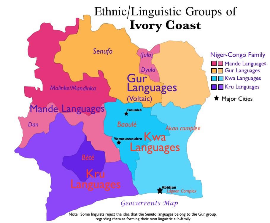 mapa de grupos de lenguas en costa de marfil