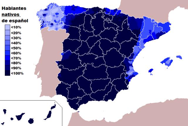 mapa de hablantes nativos de español en españa