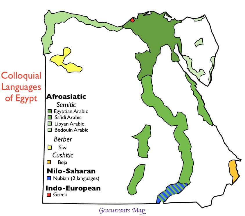 mapa de idiomas en egipto