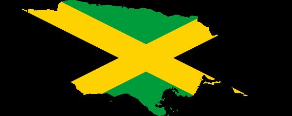 mapa de jamaica con bandera