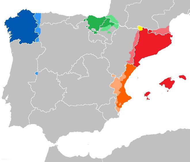 mapa de lenguas cooficiales en españa