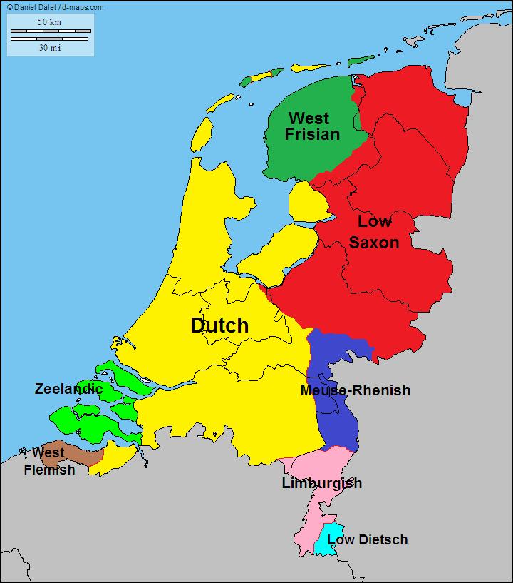 mapa de lenguas e idiomas en holanda