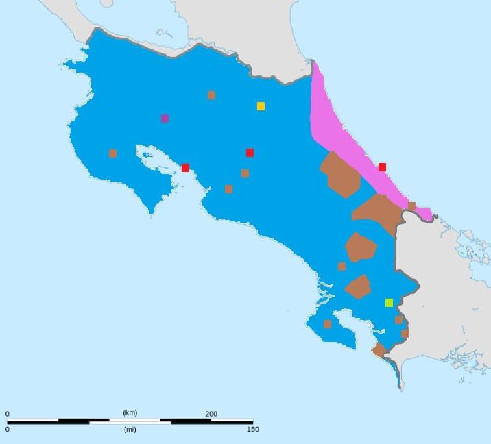 mapa de lenguas idiomas de costa rica