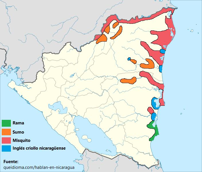 mapa de lenguas idiomas nicaragua