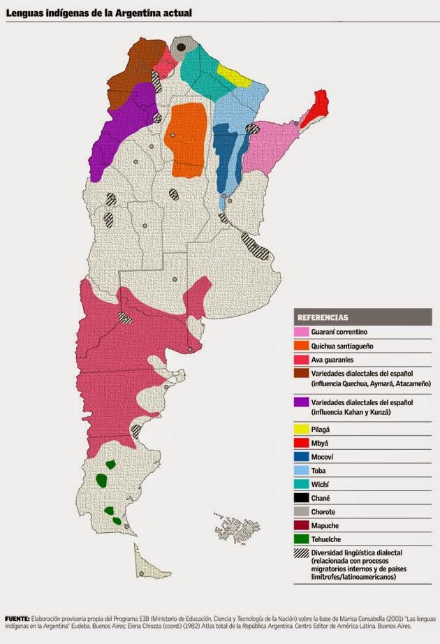 mapa de lenguas indigenas en argentina