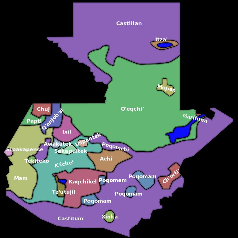 mapa de lenguas indigenas guatemala