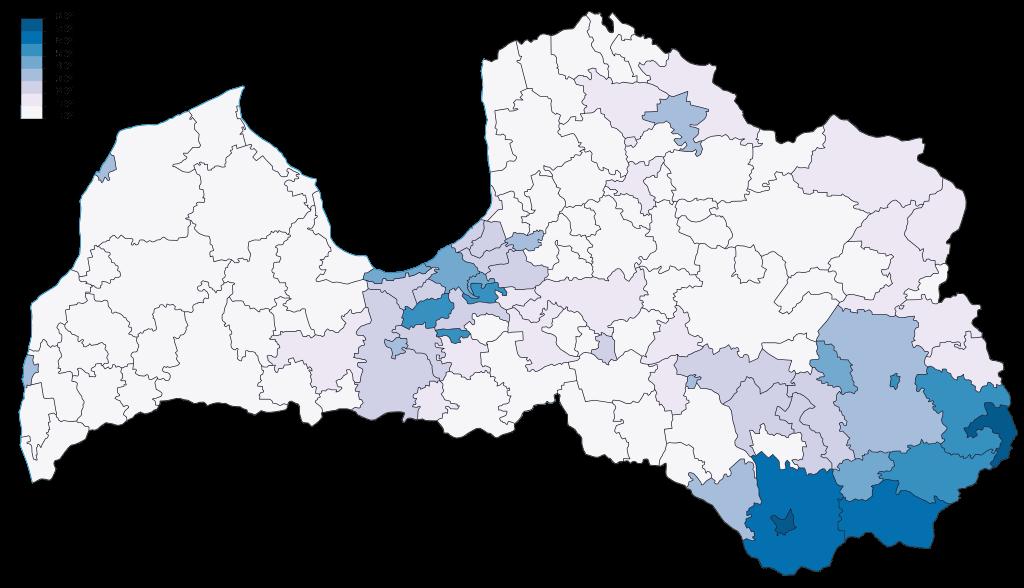 mapa del idioma ruso como primera lengua en letonia