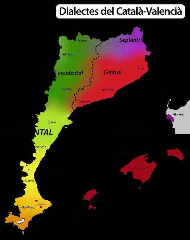 mapa dialectos catalan valenciano