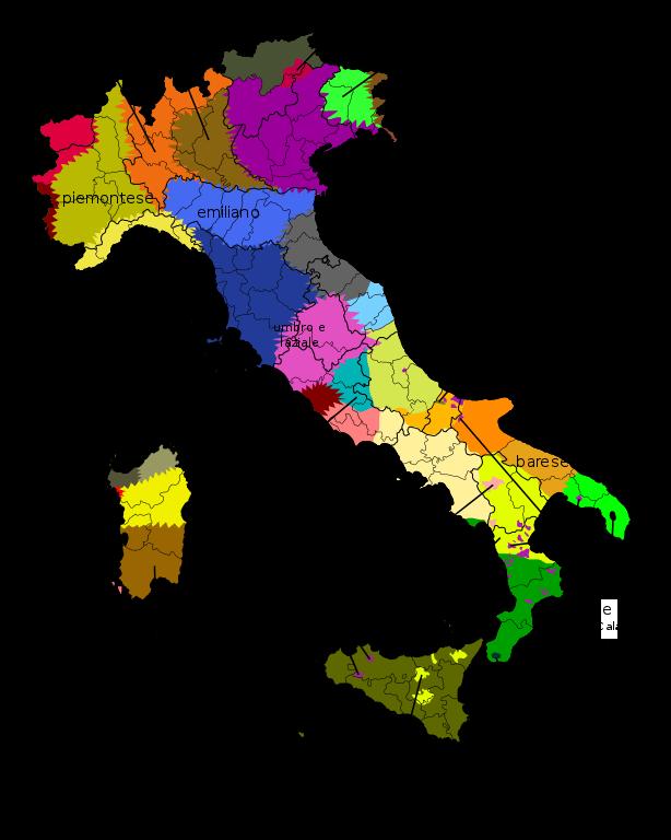 mapa linguistico idiomas lenguas italia
