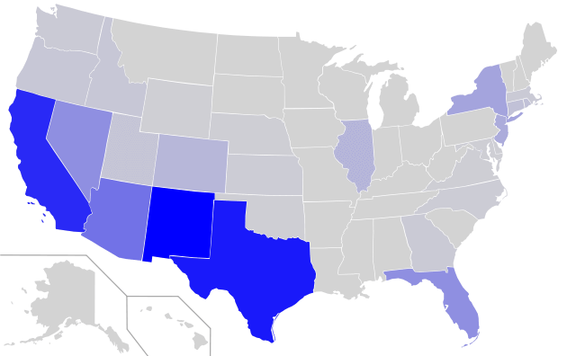distribucion de los hablantes de español en estados unidos