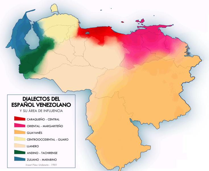 mapa dialectos español venezuela