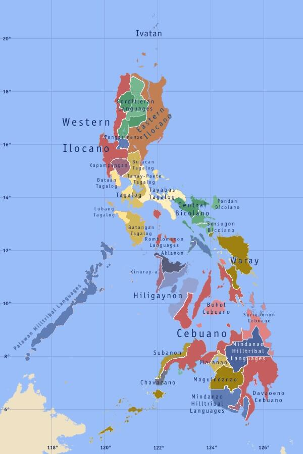 mapa lenguas idiomas filipinas