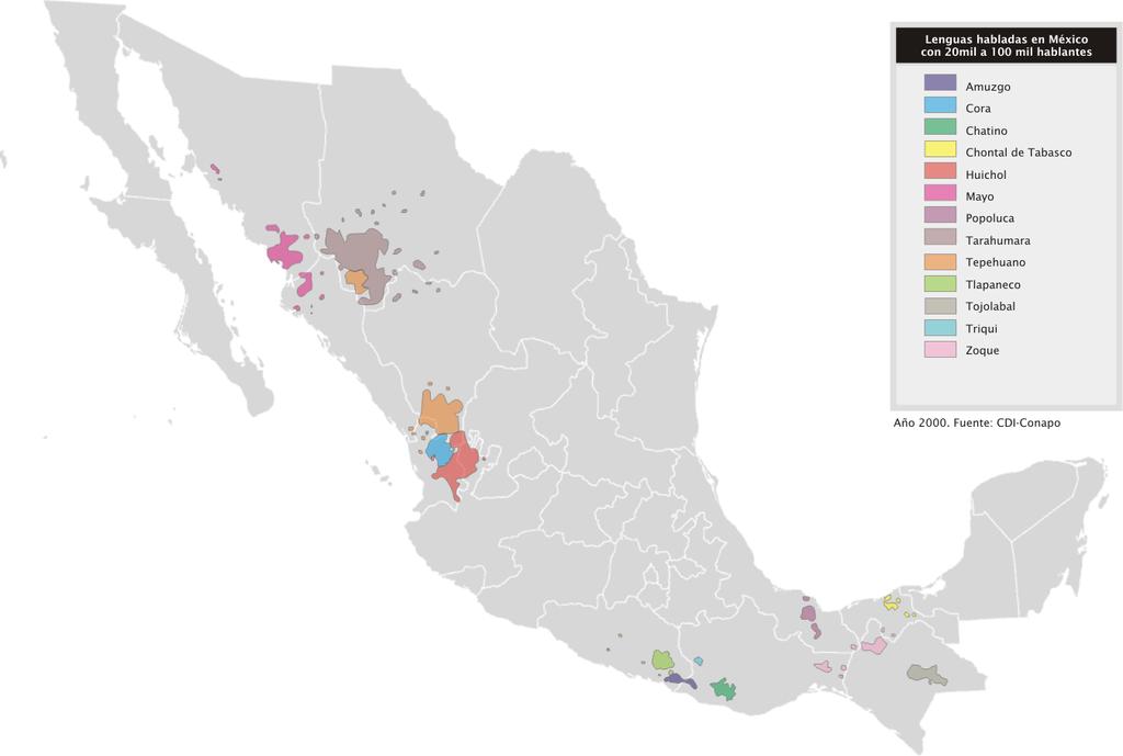 mapa lenguas indigenas mexico hablantes entre 20000 y 100000 hablantes
