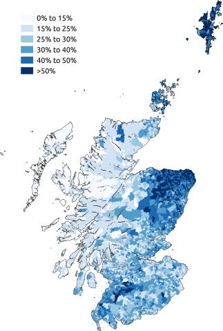 mapa porcentaje hablantes escoces