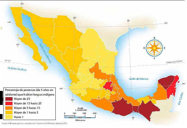 porcentaje hablantes lenguas indigenas estados mexico