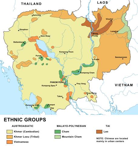 mapa lenguas idiomas hablados camboya