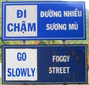 señal de trafico vietnam ingles vietnamita