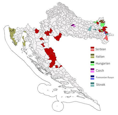 lenguas minoritarias oficiales municipios croacia