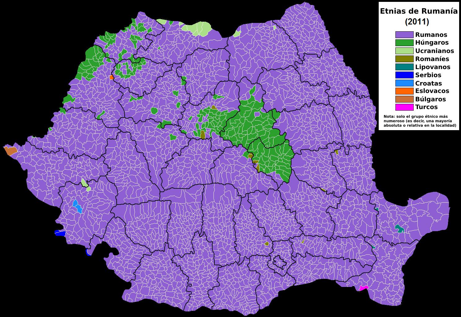 mapa de etnias de rumania