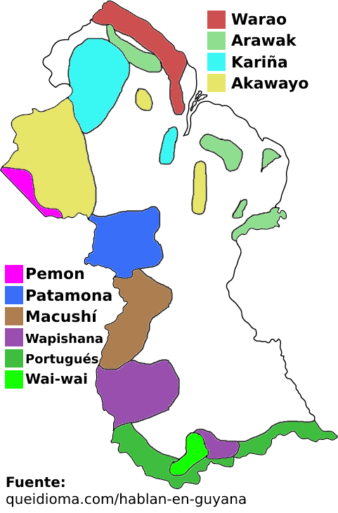 mapa guyana lenguas idiomas indigenas