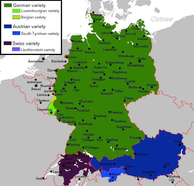 mapa variedades aleman estandar