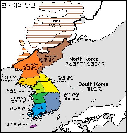 mapas de dialectos coreano en coreas
