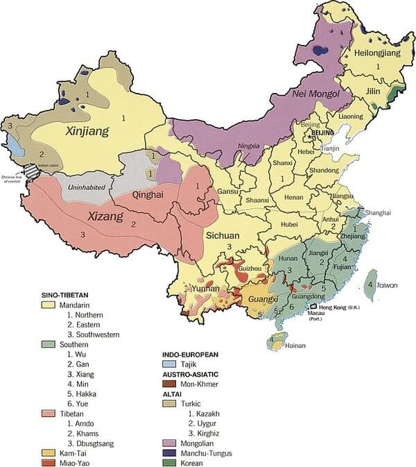 mapa idiomas lenguas china