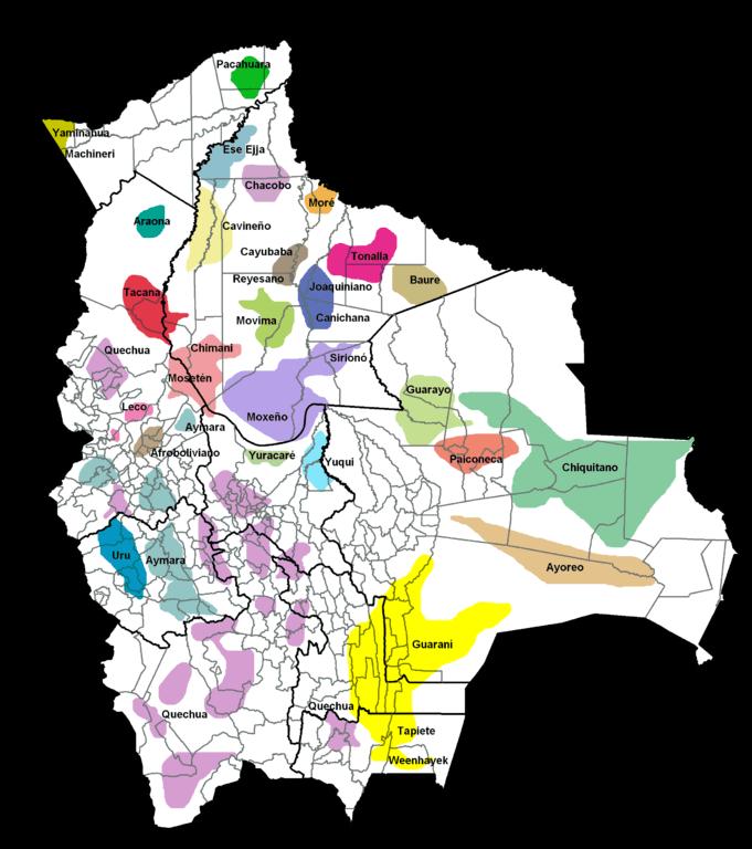 mapa pueblos indigenas bolivia idiomas